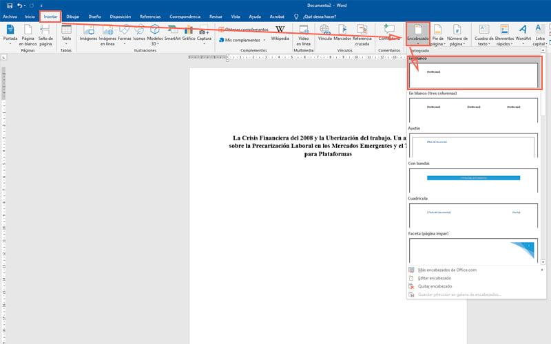 Pasos para hacer una portada en Microsoft Word para tus documentos más importantes insertar encabezado