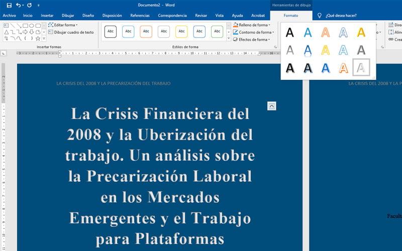 Consejos para crear las portadas de tus documentos y que se vean más atractivas WordArt