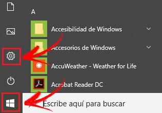 Accede a la configuración en Windows 10