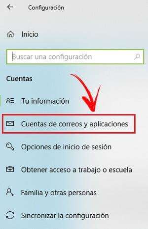 Cuentas y aplicaciones de correo electrónico en Windows 10