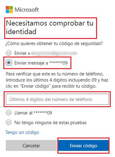 Verificar la identidad de la cuenta de Microsoft