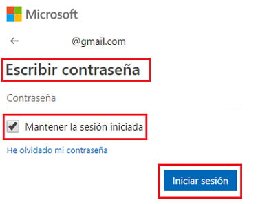 Ingrese la contraseña de acceso a la cuenta de Microsoft