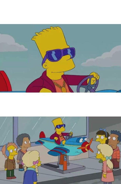 Plantilla de meme de Bart Simpson Driving