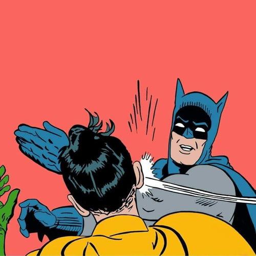 Batman da una bofetada en la plantilla de mem de Robin