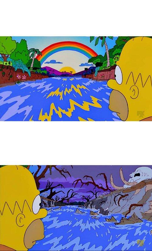 Plantilla momos de Homer Simpson entre dues decisions