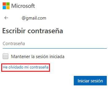 Recuperar la contraseña de la cuenta de Microsoft