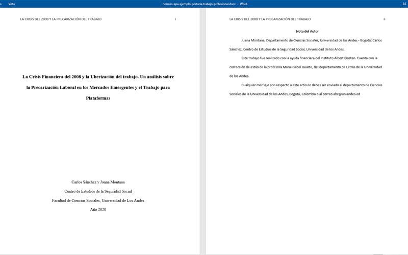 ¿Cómo se debe crear una portada en un documento escrito según las Normas APA?
