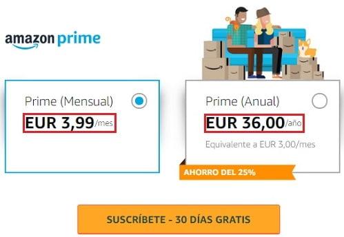 Precios de Amazon Prime España
